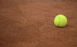 Balle de tennis photographiée pendant la coupe Davis à Rouen (France) le 6 avril 2017.