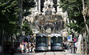 Deux tramways à Marseille.