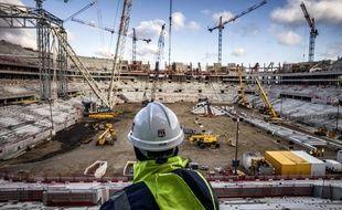 Lyon, le 9 décembre 2014. Vue du chantier du Stade des Lumières, futur antre de l'Olympique Lyonnais.