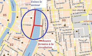 En raison d'une voiture suspecte, le centre-ville de Lyon a été bloqué.