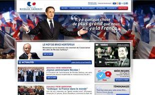 Capture d'écran du site des «Amis de Nicolas Sarkozy», le 28 janvier 2013.