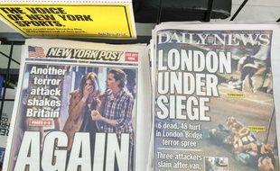 La Une des tabloïds New-Yorkais le 4 juin 2017, après l'attentat  perpétré à Londres.