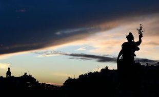 La statue de la place de la République, le 10 janvier 2016 à Paris