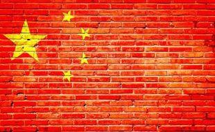 Peinture sur brique représentant le drapeau de la Chine