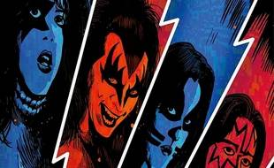 Les quatre membres du groupe Kiss en BD