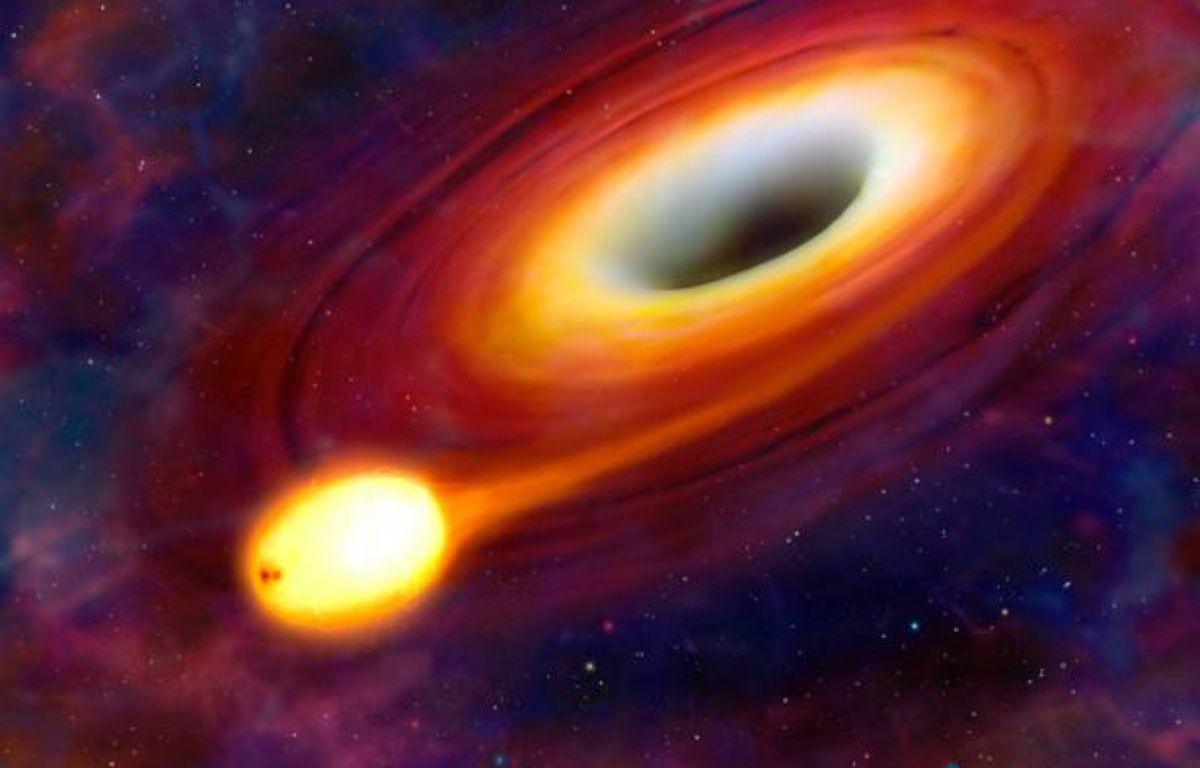 Vue d'artiste du phénomène SW 1644+57, lors duquel un trou noir a avalé une étoile, dans la constellation du Dragon, à 3,8 milliards d'années-lumières. – M.GARLICK/UNIVERSITY OF WARWICK