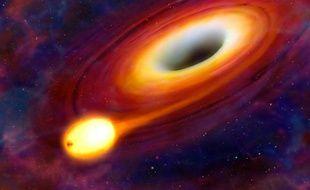 Vue d'artiste du phénomène SW 1644+57, lors duquel un trou noir a avalé une étoile, dans la constellation du Dragon, à 3,8 milliards d'années-lumières.