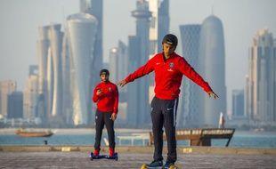 Marquinhos et Kurzawa à Doha le 29 décembre 2015.