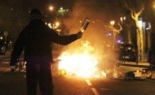 Un manifestant lors des incidents à Bastia, le 14 février 2016.