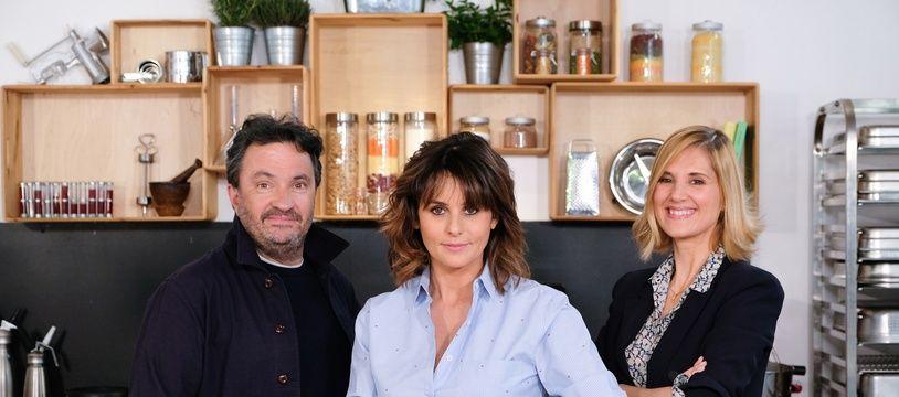 Le chef Yves Camdeborde, Faustine Bollaert et la nutritionniste Mathilde Touvier.
