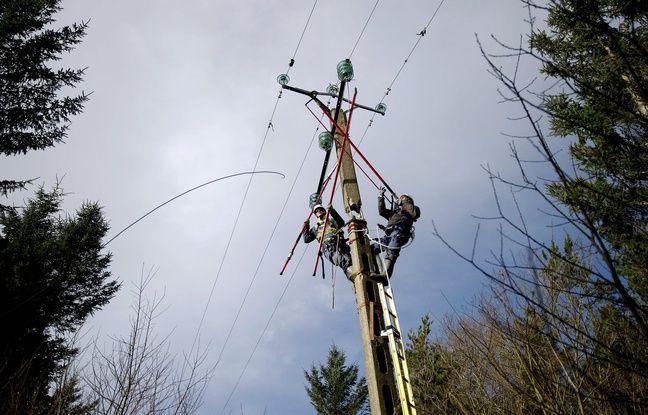 Illustration d'agents ERDF intervenant après une tempête sur le réseau électrique.