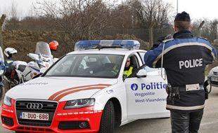 Rekkem, le 21 février 2013. Opération dans le cadre de la coopération transfrontalière des polices a l'ancien poste frontière sur l'autoroute A22 entre la France et la Belgique.