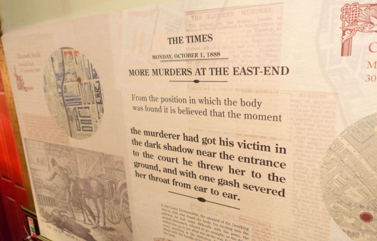 Une page d'un journal datant de 1888 et évoquant un nouveau crime lié à Jack l'éventreur. Cette page est exposée au musée Jack The Ripper de Londres. – REX Shutterstock/SIPA