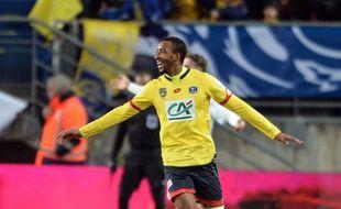 Sochaux, le 2 mars 2016. - Le Sochalien Moussa Sao, auteur d'un doublé face à FC Nantes quart de finale de Coupe de France. Le club de Ligue s'impose finalement après prolongation (3-2).