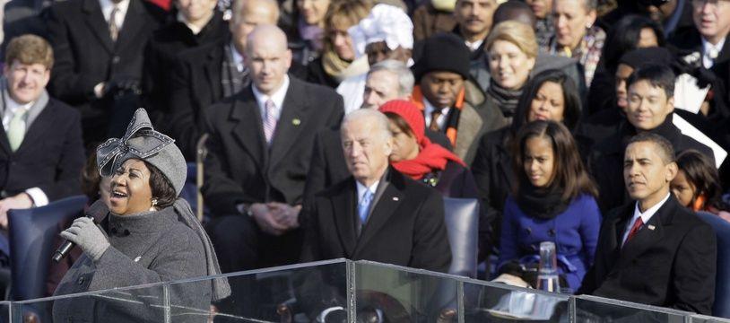 Aretha Franklin lors de l'investiture de Barack Obama, le 20 janvier 2009.
