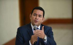 Jimmy Morales, président du Guatemala, lors d'une conférence de presse, le 2 novembre 2015 à Guatemala City.