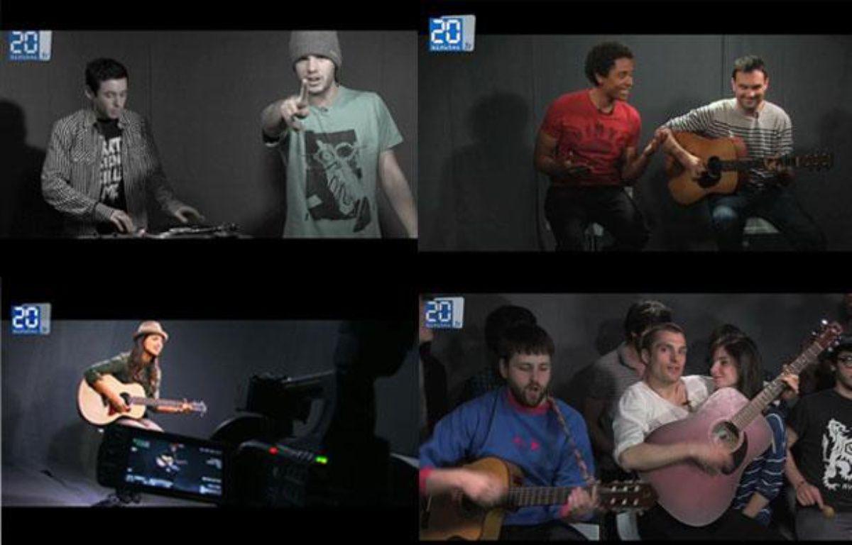Orelsan, Stéphane Rizon («The Voice» 2012),Tal et François and the Atlas Moutain, dans le studio de20 Minutes. – 20 minutes