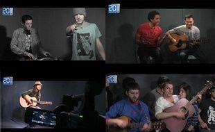 Orelsan, Stéphane Rizon («The Voice» 2012),Tal et François and the Atlas Moutain, dans le studio de20 Minutes.