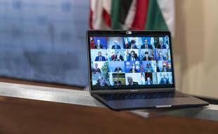 Réunion virtuelle du Conseil de sécurité de l'ONU sur la situation au Proche-Orient, le 16 mai 2021.