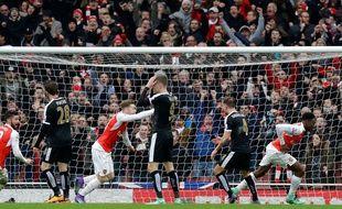Danny Welbeck fête un but lors de la victoire d'Arsenal sur Leicester le 14 février 2016.