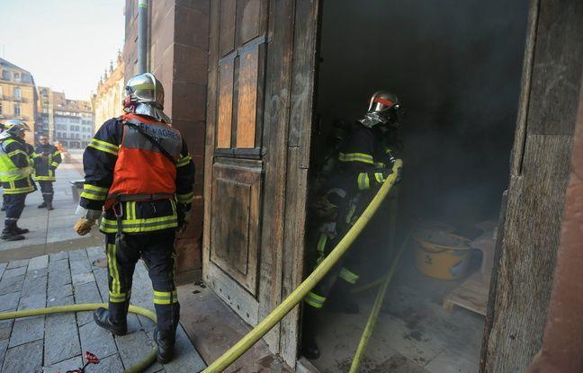 Des exercices de secours sont régulièrement organisés pour la cathédrale de Strasbourg.