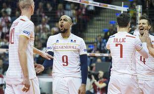 L'équipe de France de volley-ball pendant son match contre la Pologne à Berlin, le 9 janvier 2016