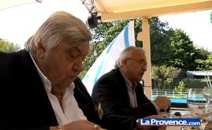 Capture d'écran d'un repas entre Louis Nicollin (à g.) et Jean-Claude Dassier, organisé par La Provence et le Midi Libre.