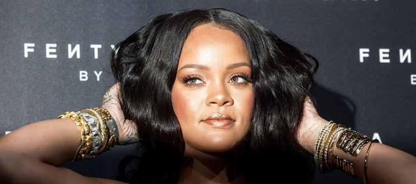 Rihanna à Milan pour le lancement de Fenty Beauty en Italie le 5 avril 2018.