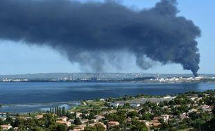 De la fumée s'échappe de l'usine pétrochimique LyondellBasell à Berre-l'Etang près de Marseille le 14 juillet 2015