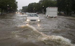 Les rues de Washington ont été inondées après de fortes pluies, le 8 juillet 2019.