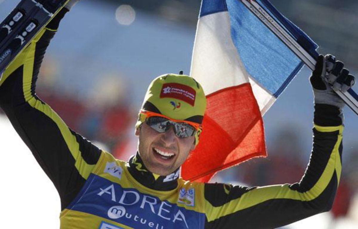 Le champion français de combiné nordique, Jason Lamy-Chappuis, lors de sa victoire à Chaux-Neuve, le 23 janvier 2011. – Sipa