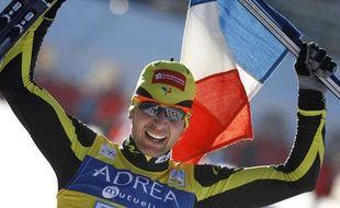 Le champion français de combiné nordique, Jason Lamy-Chappuis, lors de sa victoire à Chaux-Neuve, le 23 janvier 2011.
