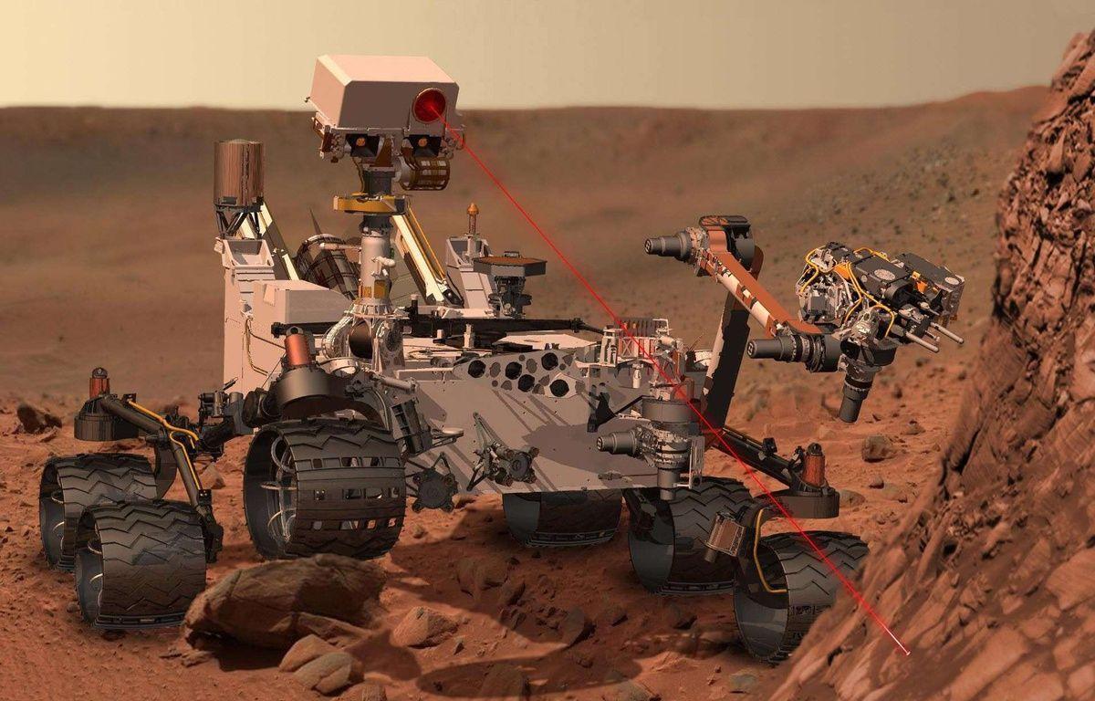 Un tir laser du rover Curiosity sur Mars. – Nasa - JPL Caltech - Rex Features