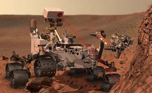 Un tir laser du rover Curiosity sur Mars.