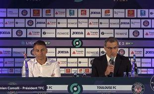 Olivier Sadran et Damien Comolli, l'ancien et le nouveau président du TFC.