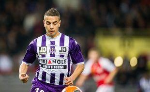Wissam Ben Yedder, auteur du but vainqueur du TFC contre Reims en Ligue 1, le 8 mars 2014 au Stadium de Toulouse.