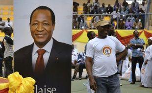 Un portrait de l'ex-chef de l'Etat burkinabè, Blaise Compaoré, lors d'un meeting du Congrès pour la démocratie et le progrès (CDP), à Ouagadougou le 10 mai 2015