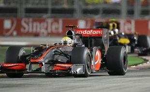 Lewis Hamilton, vainqueur du Grand Prix de Singapour, le 27 septembre 2009.