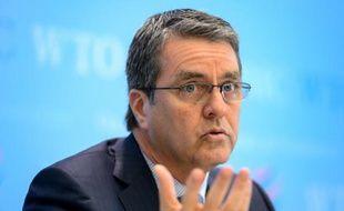 Le directeur général de l'Organisation mondiale du Commerce (OMC) Roberto Azevedo lors d'une conférence de presse en avril 2016 au siège de l'OMC
