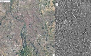 Vue de Toulouse aujourd'hui et dans les années 1950-1965.