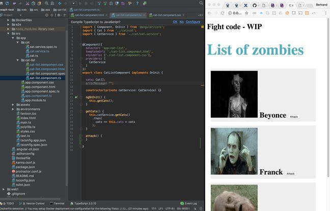 Exemple de la liste de zombies qu'il fallait afficher au Fight code