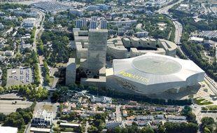 Image de synthèse aérienne du projet de stade du FC Nantes.