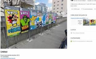 Capture d'écran de la page Flickr de l'artiste Monsieur Serk sur laquelle se trouve son détournement d'affiches électorales.