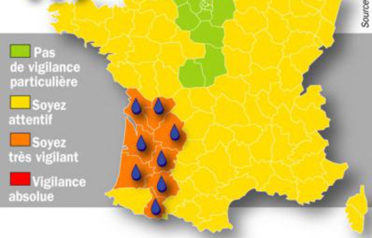Huit départements ont été placés en vigilance orange le 26 janvier 2009. – IDE