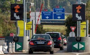 Un péage sur une autoroute dans le nord de la France