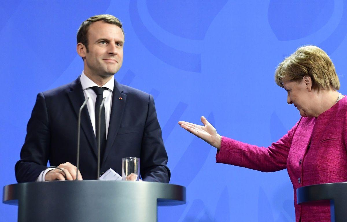 Emmanuel Macron et Angela Merkel lors d'une conférence de presse à Berlin, le 15 mai 2017. – Tobias SCHWARZ / AFP