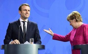 Emmanuel Macron et Angela Merkel lors d'une conférence de presse à Berlin, le 15 mai 2017.