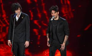 Ermal Meta et Fabrizio Moro au Festival de Sanremo le 6 février 2018.