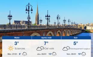 Météo Bordeaux: Prévisions du mardi 26 janvier 2021