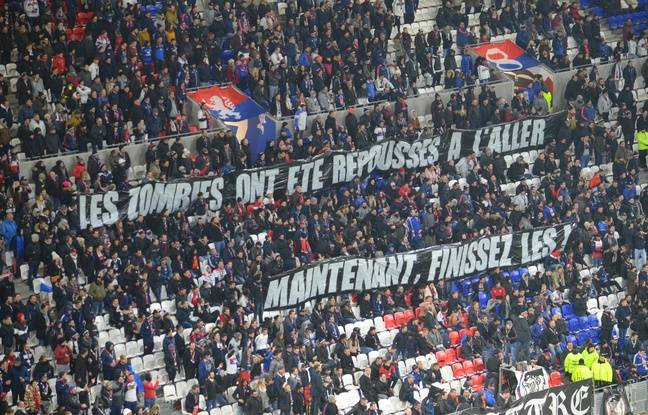 Here's the banner from last Friday on the north curve of Parc OL, nine days before the Derby in Cauldron.